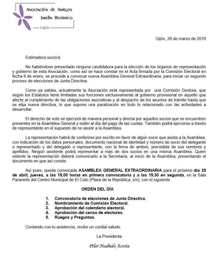 Junta Extraordinaria Asociación de Amigos del Botanico de Gijón